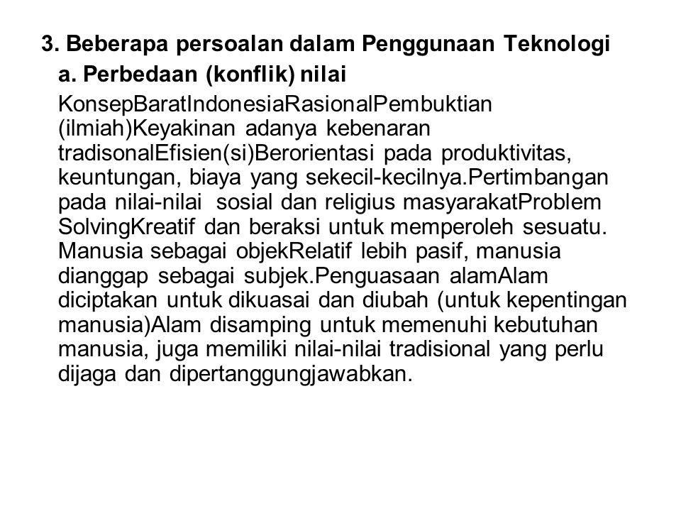 3. Beberapa persoalan dalam Penggunaan Teknologi