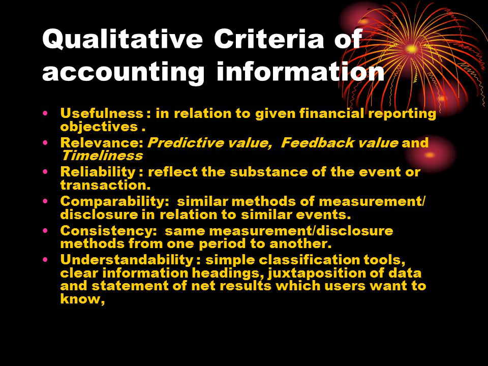 Qualitative Criteria of accounting information