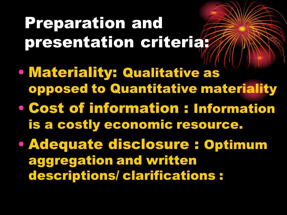 Preparation and presentation criteria: