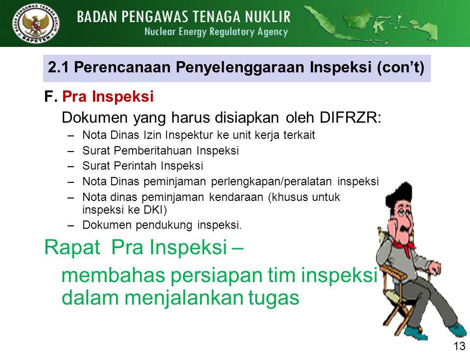 2.1 Perencanaan Penyelenggaraan Inspeksi (con't)