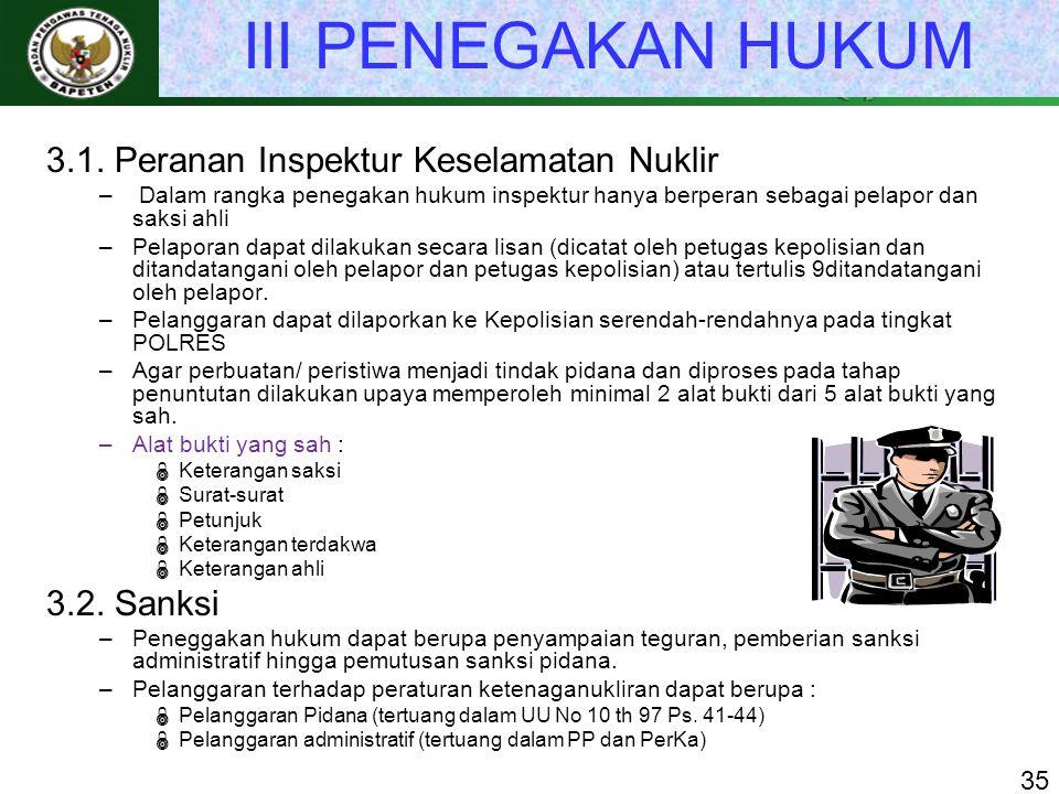 III PENEGAKAN HUKUM 3.1. Peranan Inspektur Keselamatan Nuklir