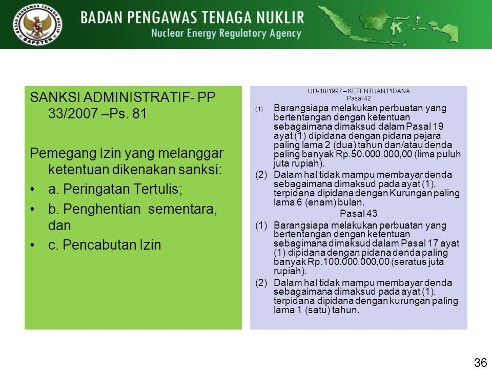 UU-10/1997 – KETENTUAN PIDANA