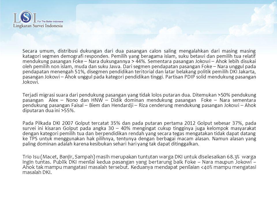 Secara umum, distribusi dukungan dari dua pasangan calon saling mengalahkan dari masing masing katagori segmen demografi responden. Pemilih yang beragama islam, suku betawi dan pemilih tua relatif mendukung pasangan Foke – Nara dukungannya > 44%. Sementara pasangan Jokowi – Ahok lebih disukai oleh pemilih non islam, muda dan suku Jawa. Dari segmen pendapatan pasangan Foke – Nara unggul pada pendapatan menengah 51%, disegmen pendidikan teritorial dan latar belakang politik pemilih DKI Jakarta, pasangan Jokowi – Ahok unggul pada kategori pendidikan tinggi. Partisan PDIP solid mendukung pasangan Jokowi.