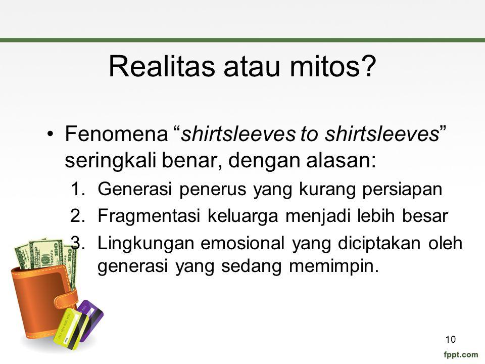 Realitas atau mitos Fenomena shirtsleeves to shirtsleeves seringkali benar, dengan alasan: Generasi penerus yang kurang persiapan.