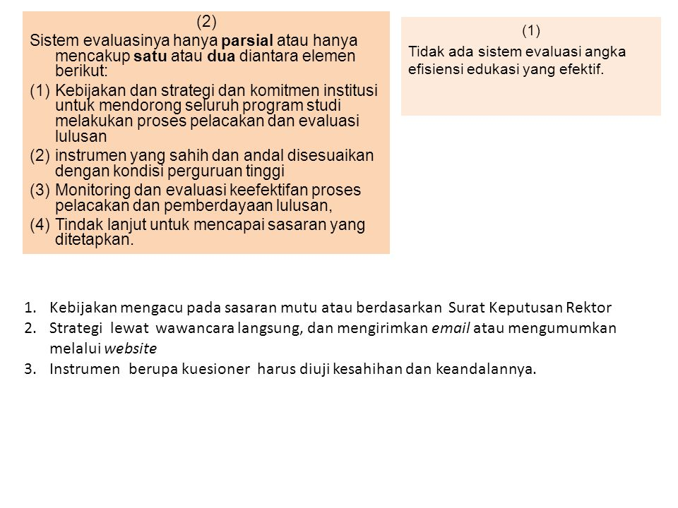 (1) Tidak ada sistem evaluasi angka efisiensi edukasi yang efektif.