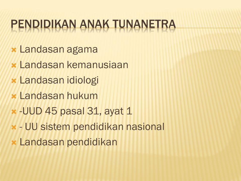 Pendidikan anak TUNANETRA