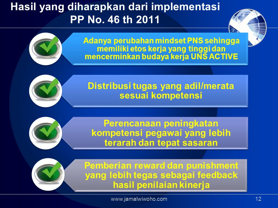 Hasil yang diharapkan dari implementasi PP No. 46 th 2011
