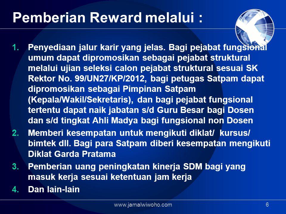 Pemberian Reward melalui :