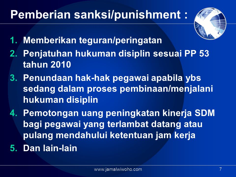 Pemberian sanksi/punishment :