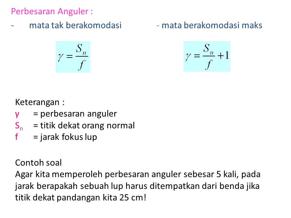 Perbesaran Anguler : mata tak berakomodasi - mata berakomodasi maks. Keterangan : γ = perbesaran anguler.