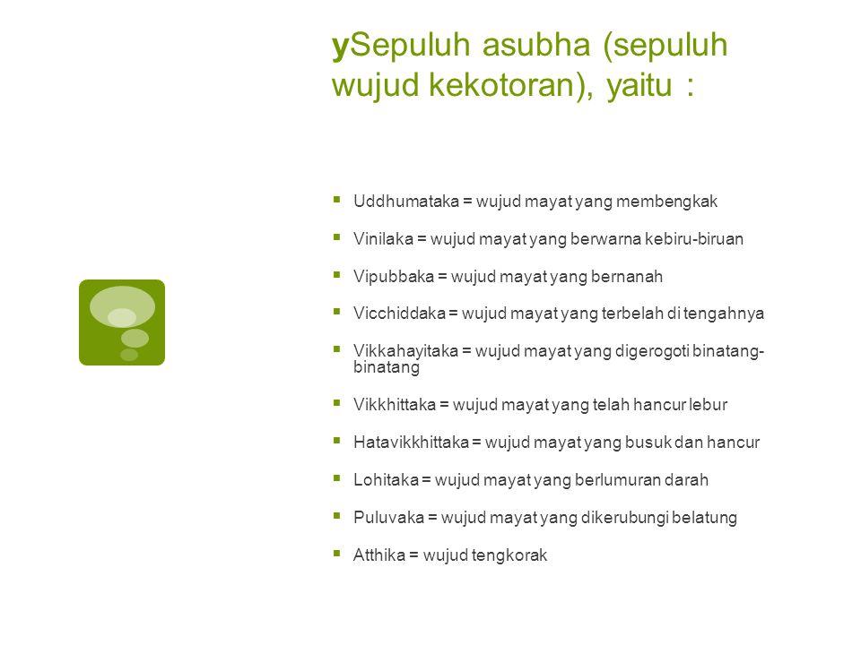 ySepuluh asubha (sepuluh wujud kekotoran), yaitu :
