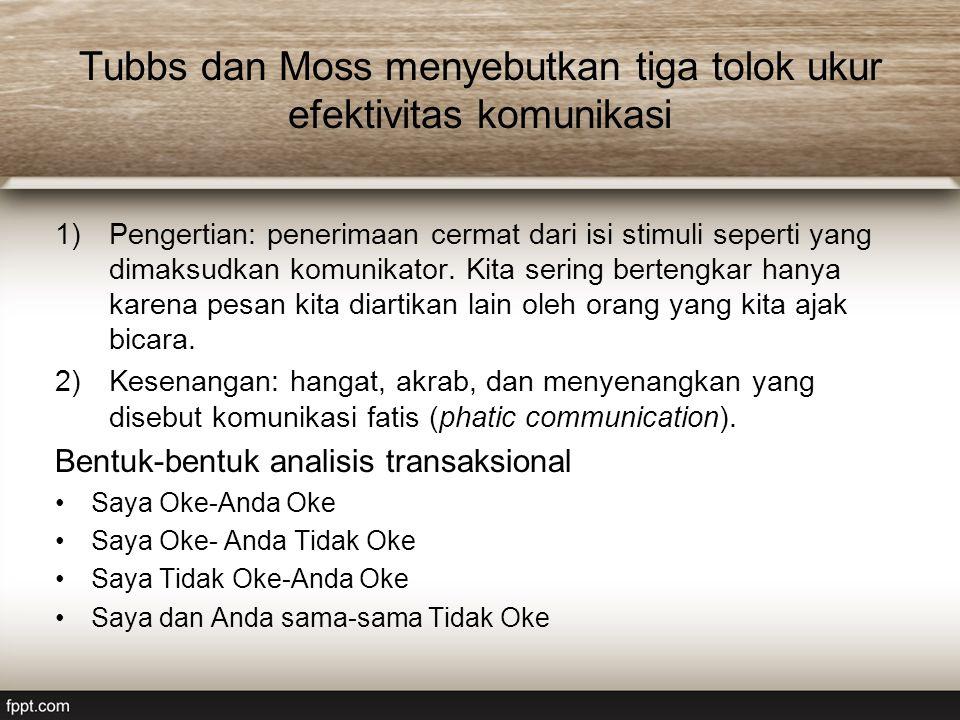 Tubbs dan Moss menyebutkan tiga tolok ukur efektivitas komunikasi