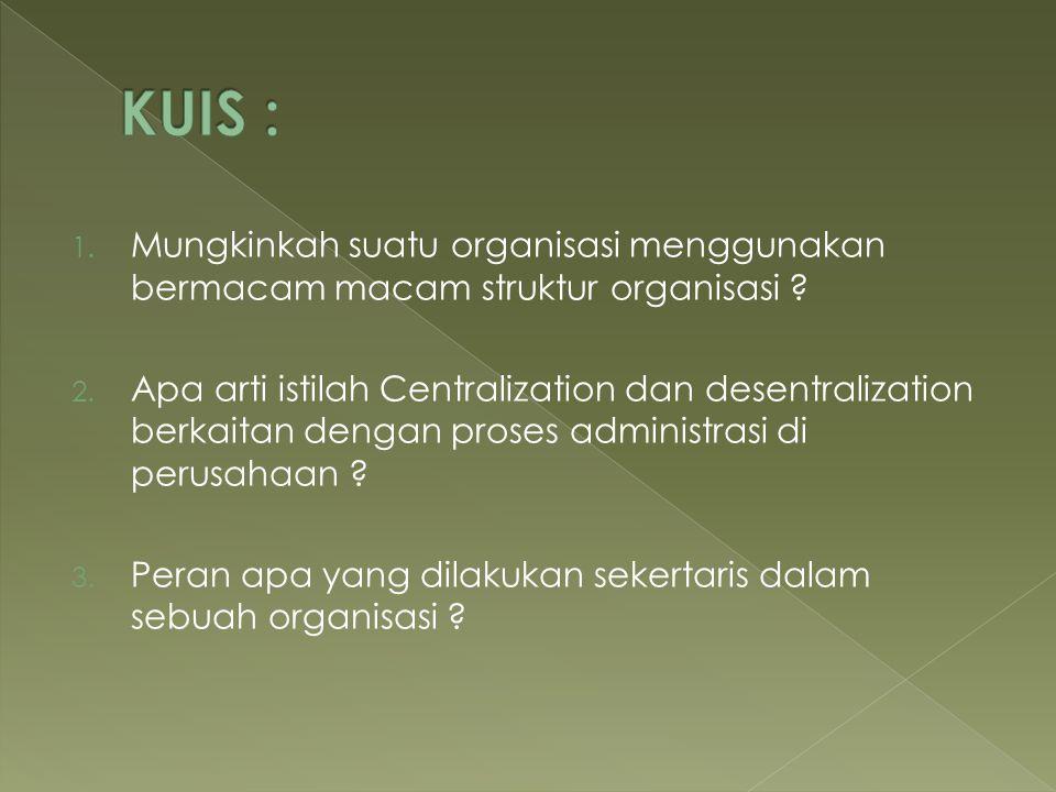 KUIS : Mungkinkah suatu organisasi menggunakan bermacam macam struktur organisasi