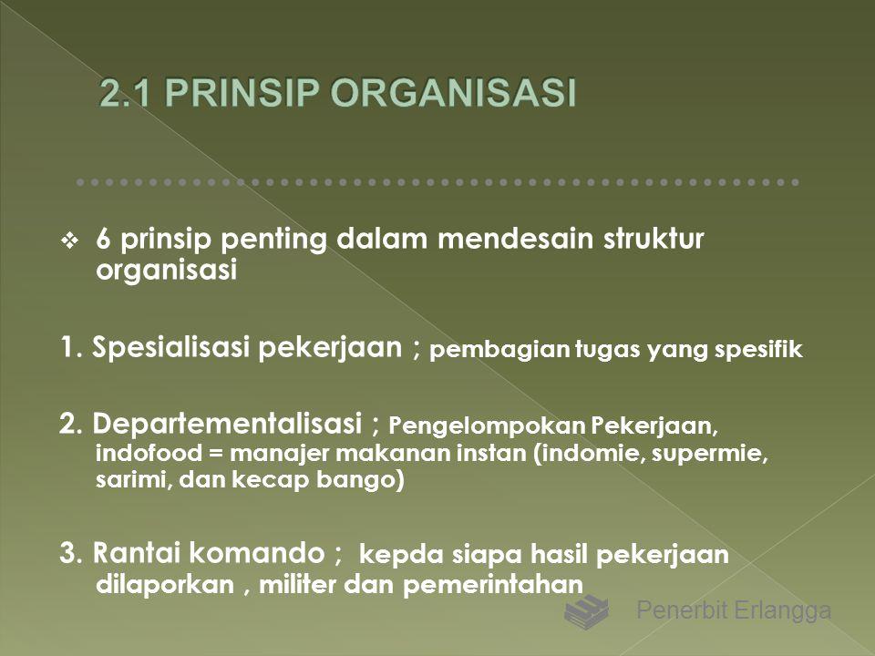 2.1 PRINSIP ORGANISASI 6 prinsip penting dalam mendesain struktur organisasi. 1. Spesialisasi pekerjaan ; pembagian tugas yang spesifik.