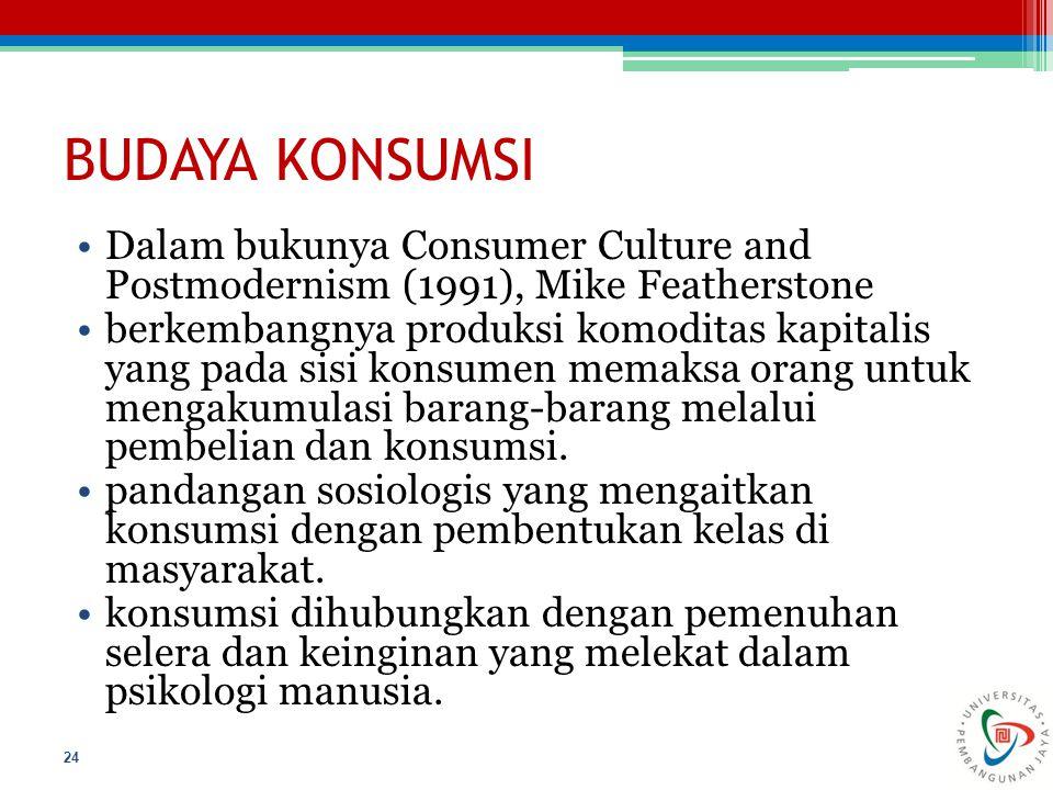 BUDAYA KONSUMSI Dalam bukunya Consumer Culture and Postmodernism (1991), Mike Featherstone.