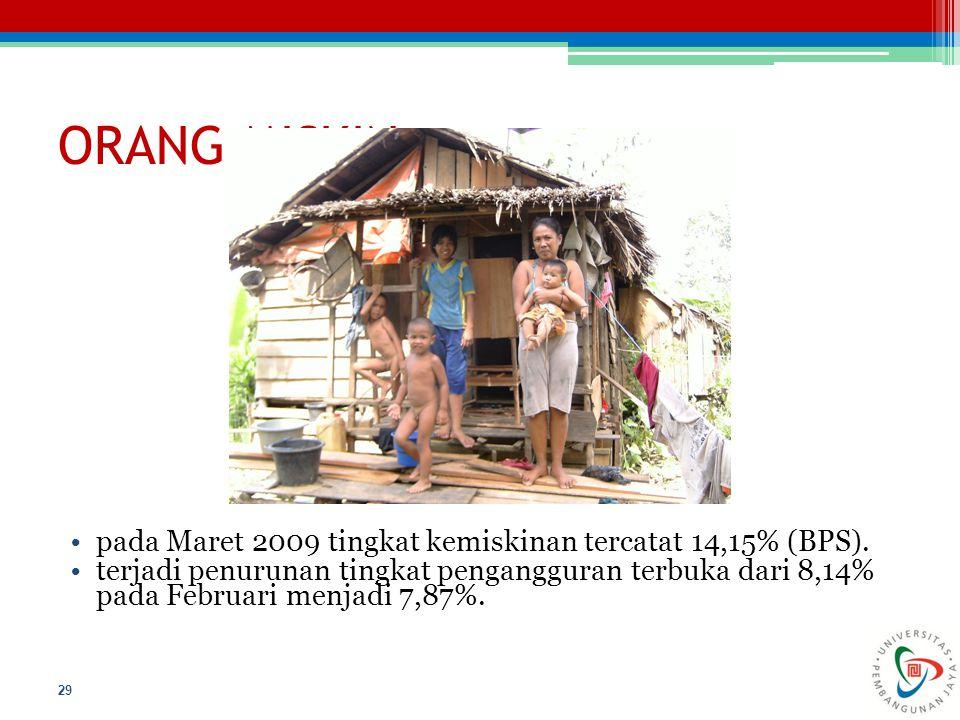 ORANG MISKIN pada Maret 2009 tingkat kemiskinan tercatat 14,15% (BPS).