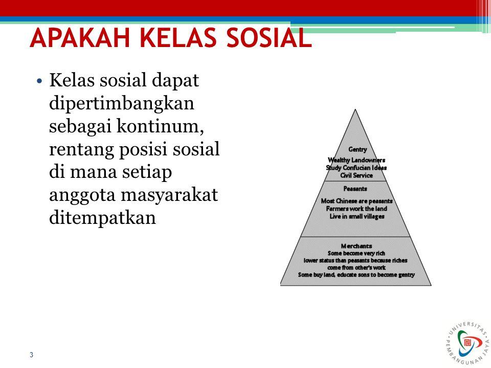APAKAH KELAS SOSIAL Kelas sosial dapat dipertimbangkan sebagai kontinum, rentang posisi sosial di mana setiap anggota masyarakat ditempatkan.