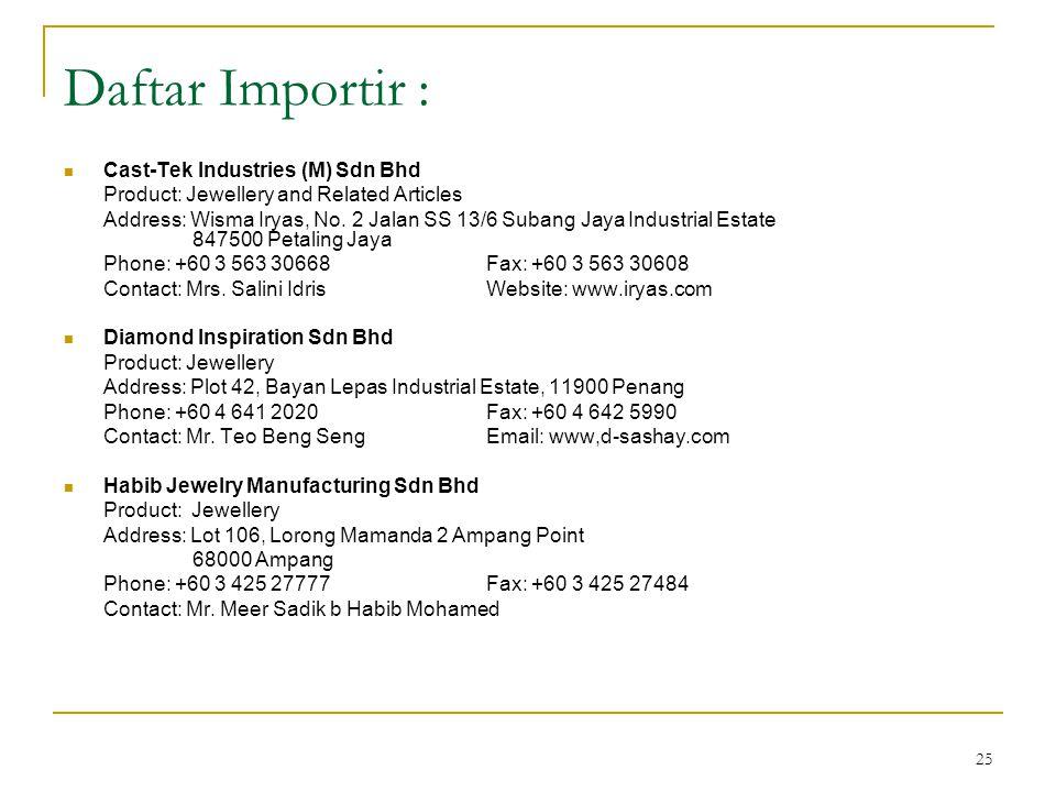 Daftar Importir : Cast-Tek Industries (M) Sdn Bhd