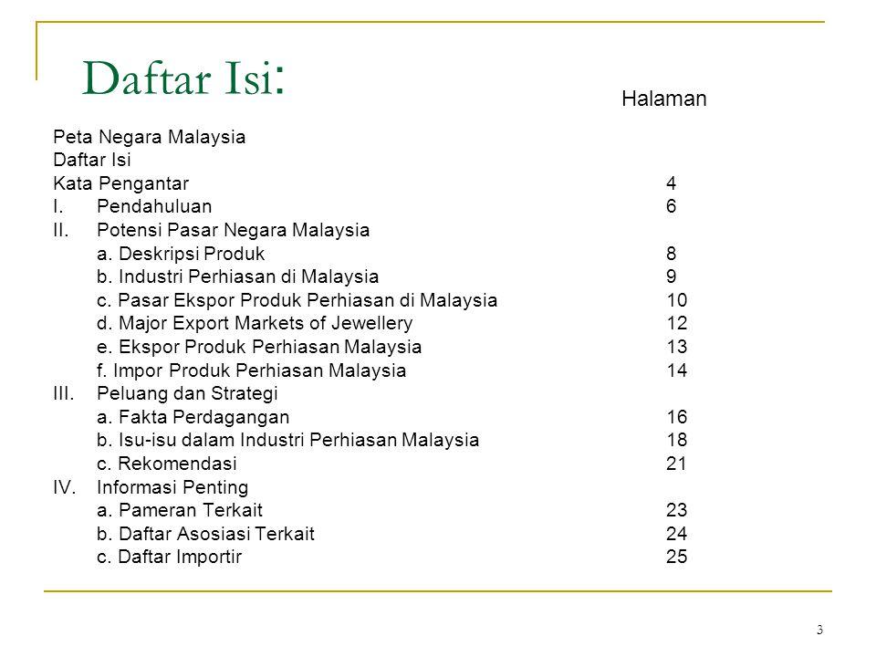 Daftar Isi: Halaman Peta Negara Malaysia Daftar Isi Kata Pengantar 4