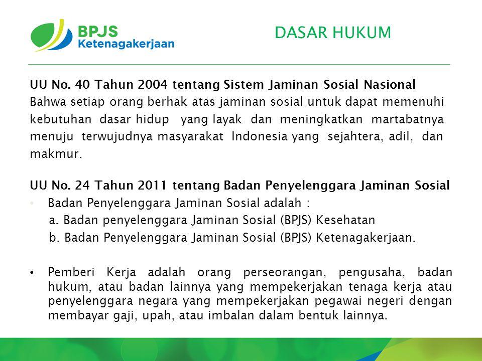 DASAR HUKUM UU No. 40 Tahun 2004 tentang Sistem Jaminan Sosial Nasional. Bahwa setiap orang berhak atas jaminan sosial untuk dapat memenuhi.