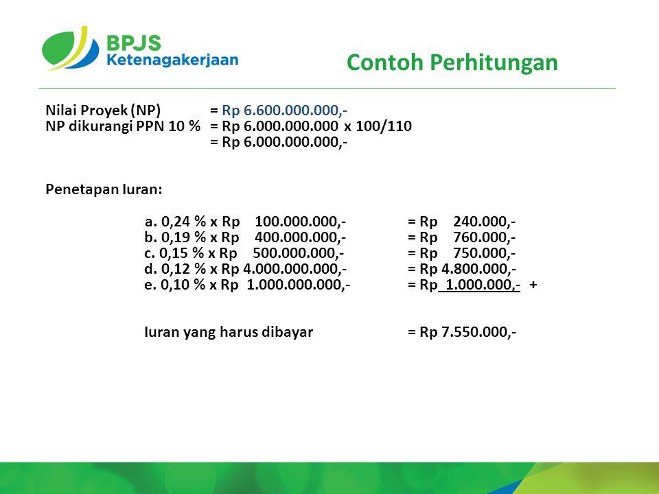Contoh Perhitungan Nilai Proyek (NP) = Rp 6.600.000.000,-