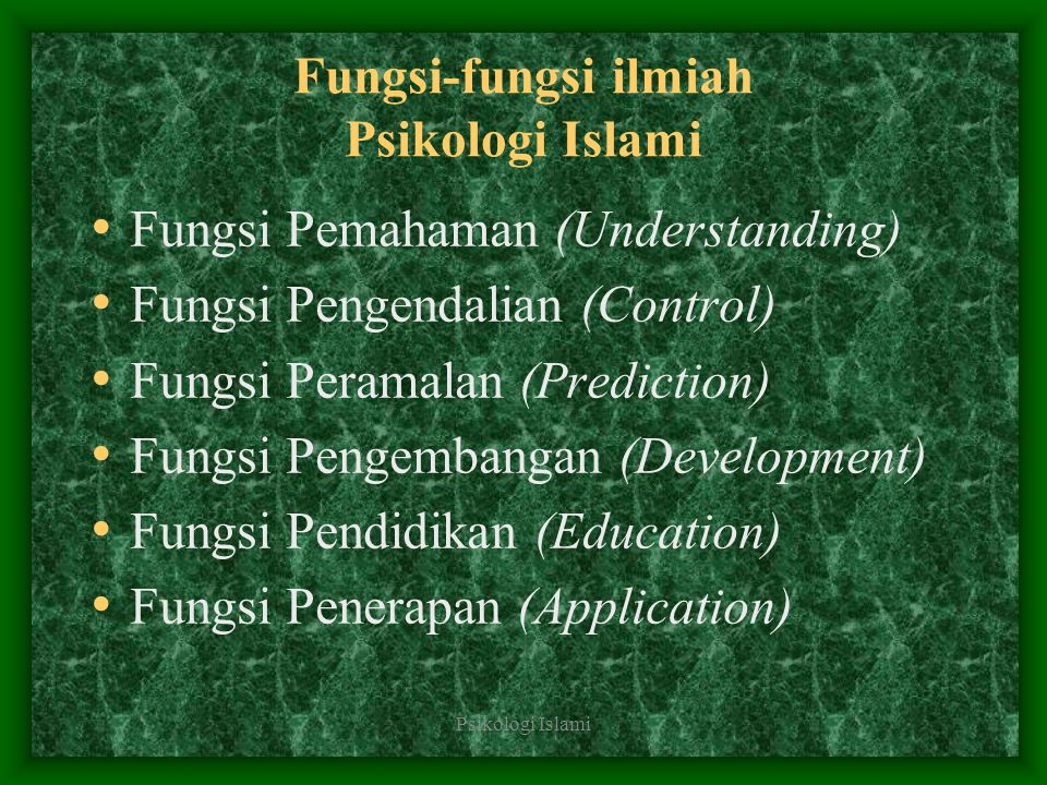 Fungsi-fungsi ilmiah Psikologi Islami