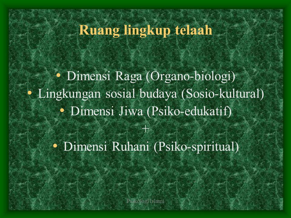 Ruang lingkup telaah Dimensi Raga (Organo-biologi)