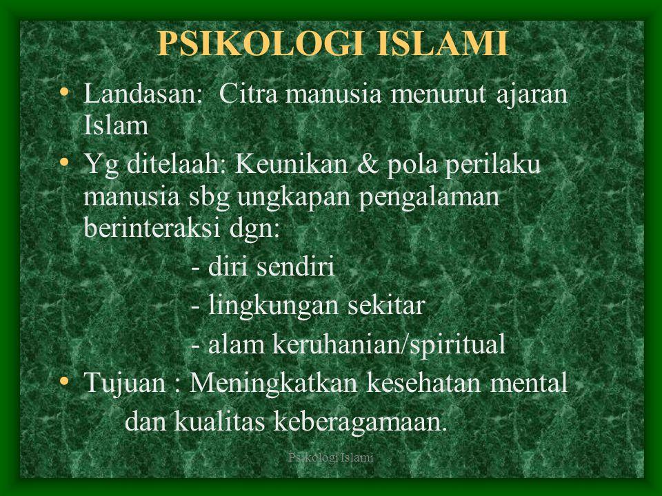 PSIKOLOGI ISLAMI Landasan: Citra manusia menurut ajaran Islam