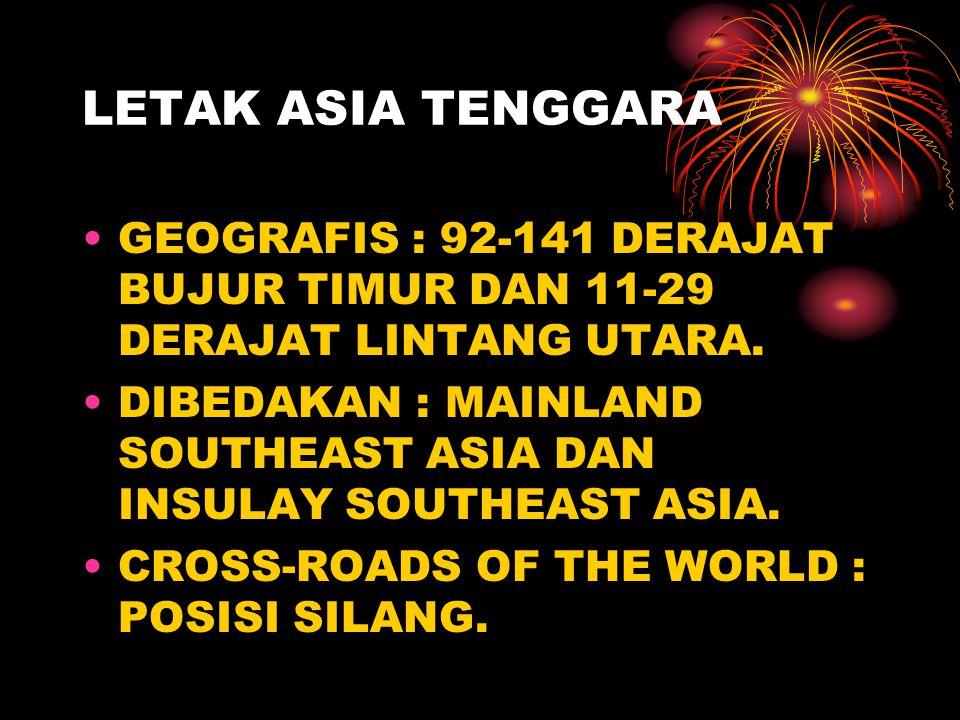 LETAK ASIA TENGGARA GEOGRAFIS : 92-141 DERAJAT BUJUR TIMUR DAN 11-29 DERAJAT LINTANG UTARA.
