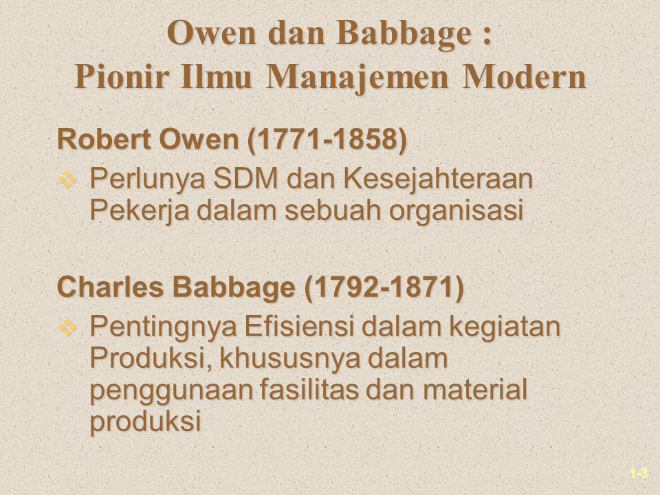 Owen dan Babbage : Pionir Ilmu Manajemen Modern