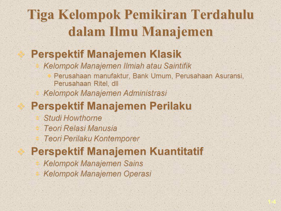 Tiga Kelompok Pemikiran Terdahulu dalam Ilmu Manajemen