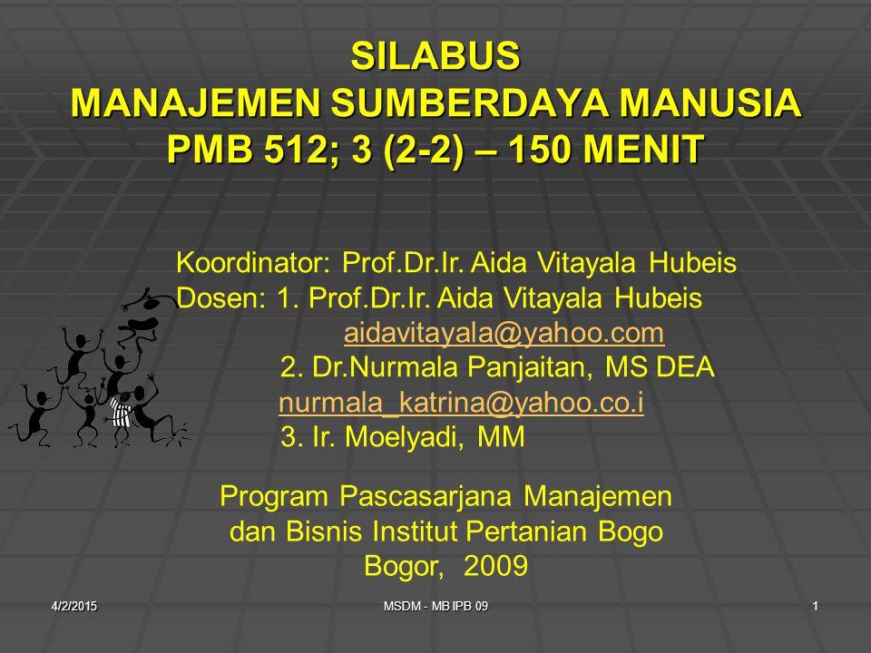 SILABUS MANAJEMEN SUMBERDAYA MANUSIA PMB 512; 3 (2-2) – 150 MENIT