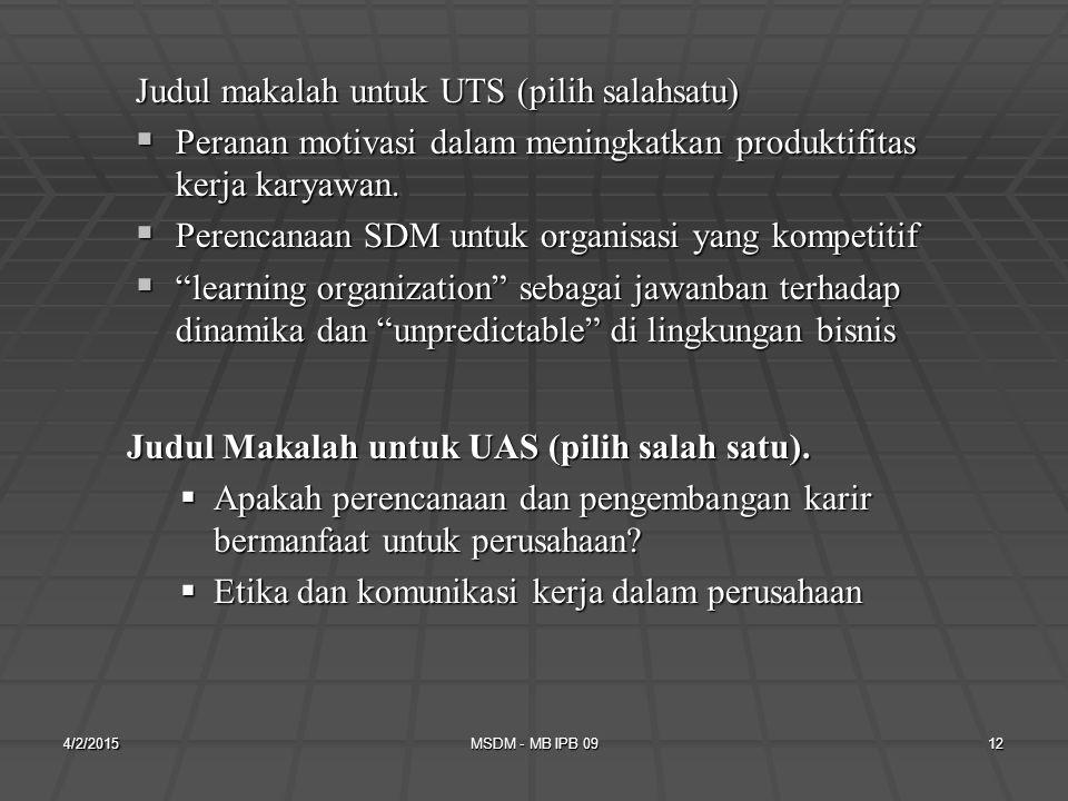 Judul makalah untuk UTS (pilih salahsatu)