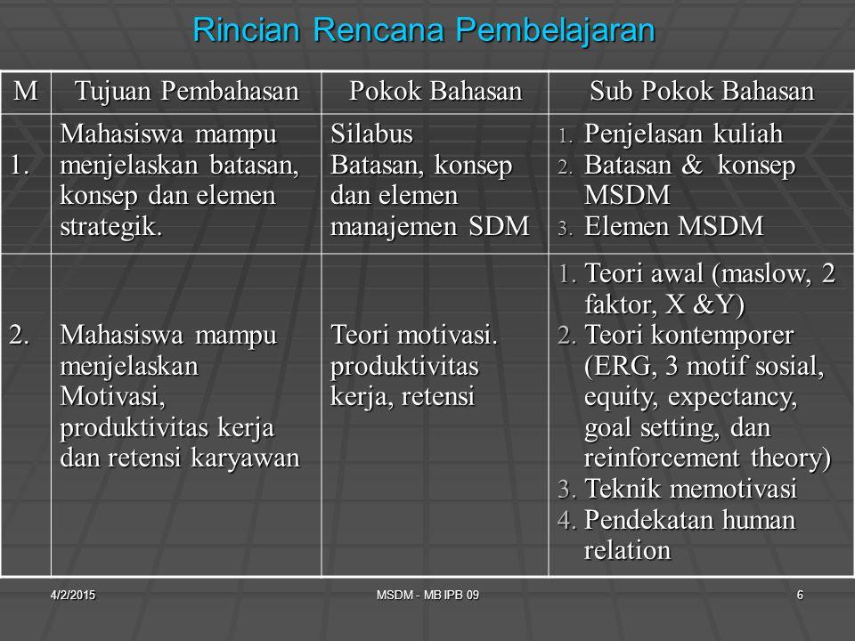 Rincian Rencana Pembelajaran