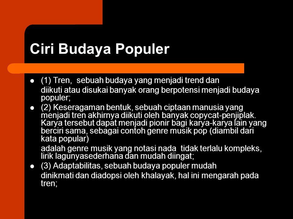 Ciri Budaya Populer (1) Tren, sebuah budaya yang menjadi trend dan