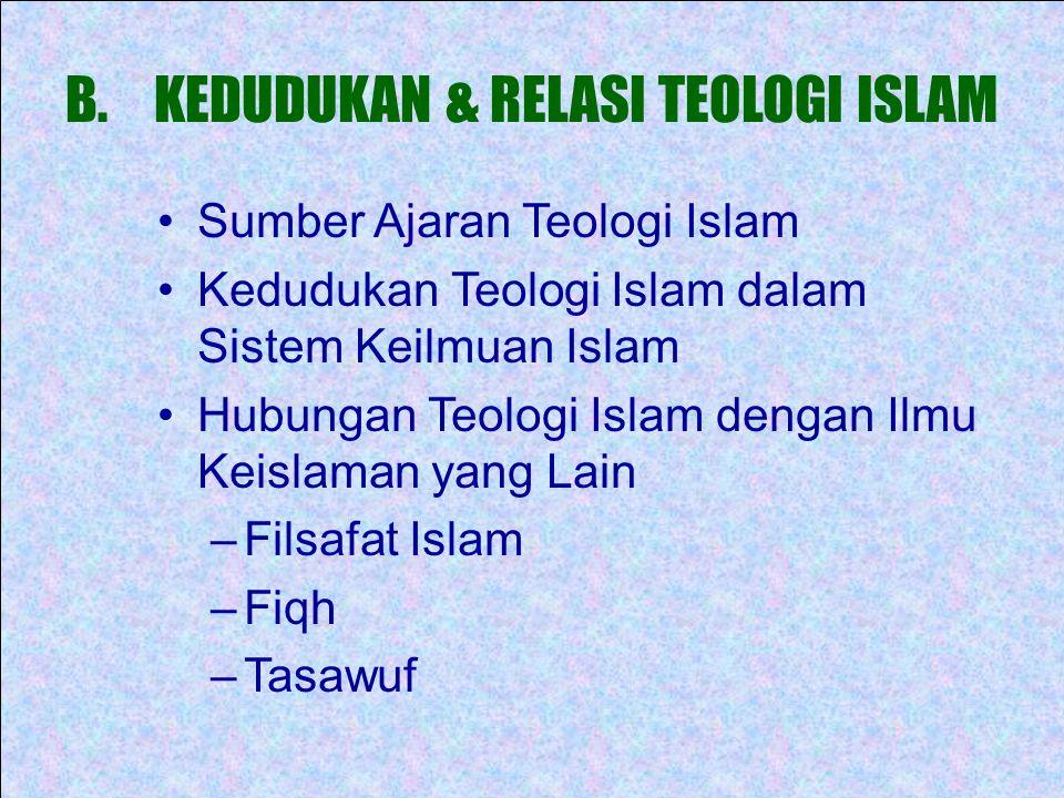 KEDUDUKAN & RELASI TEOLOGI ISLAM