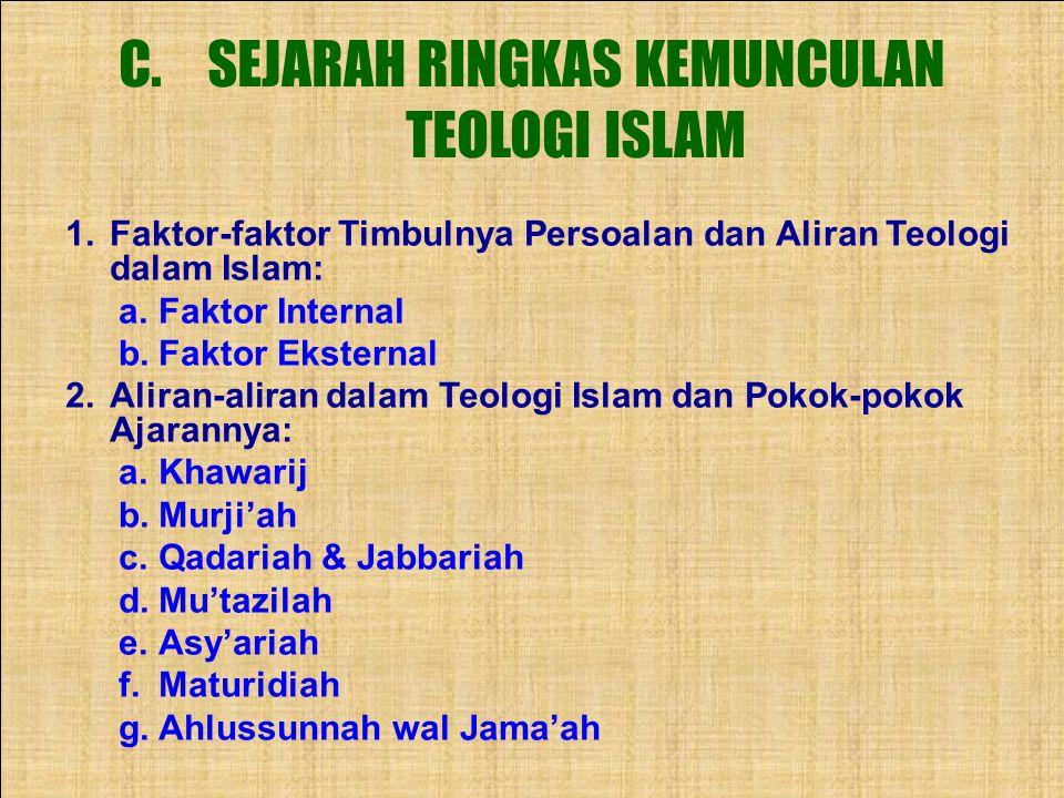 SEJARAH RINGKAS KEMUNCULAN TEOLOGI ISLAM