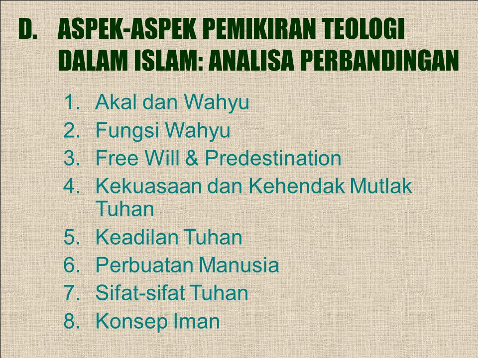 ASPEK-ASPEK PEMIKIRAN TEOLOGI DALAM ISLAM: ANALISA PERBANDINGAN