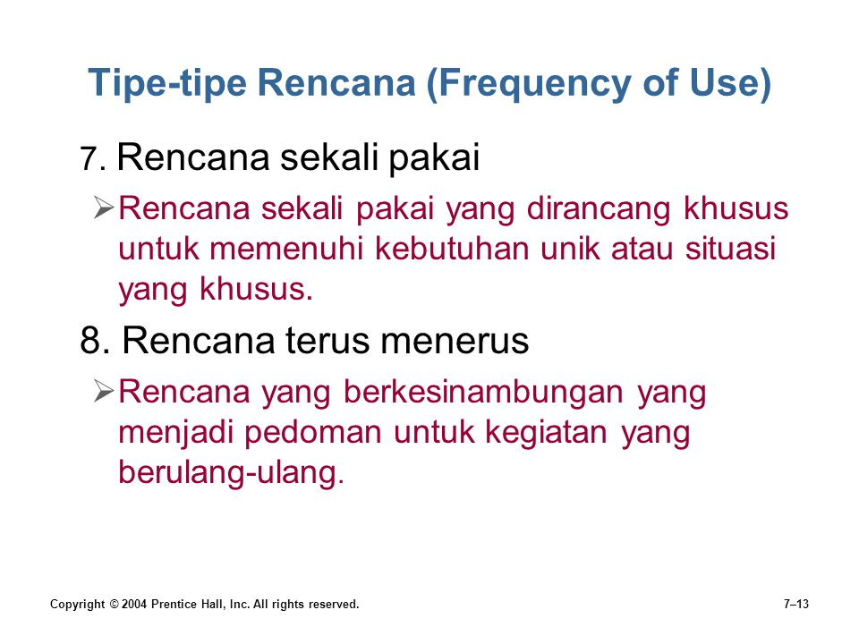 Tipe-tipe Rencana (Frequency of Use)