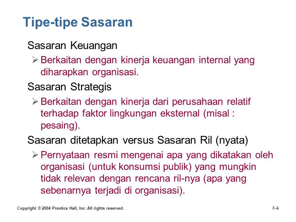 Tipe-tipe Sasaran Sasaran Keuangan Sasaran Strategis