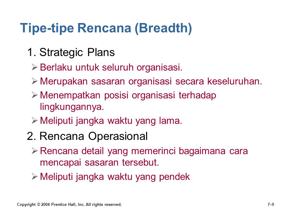 Tipe-tipe Rencana (Breadth)