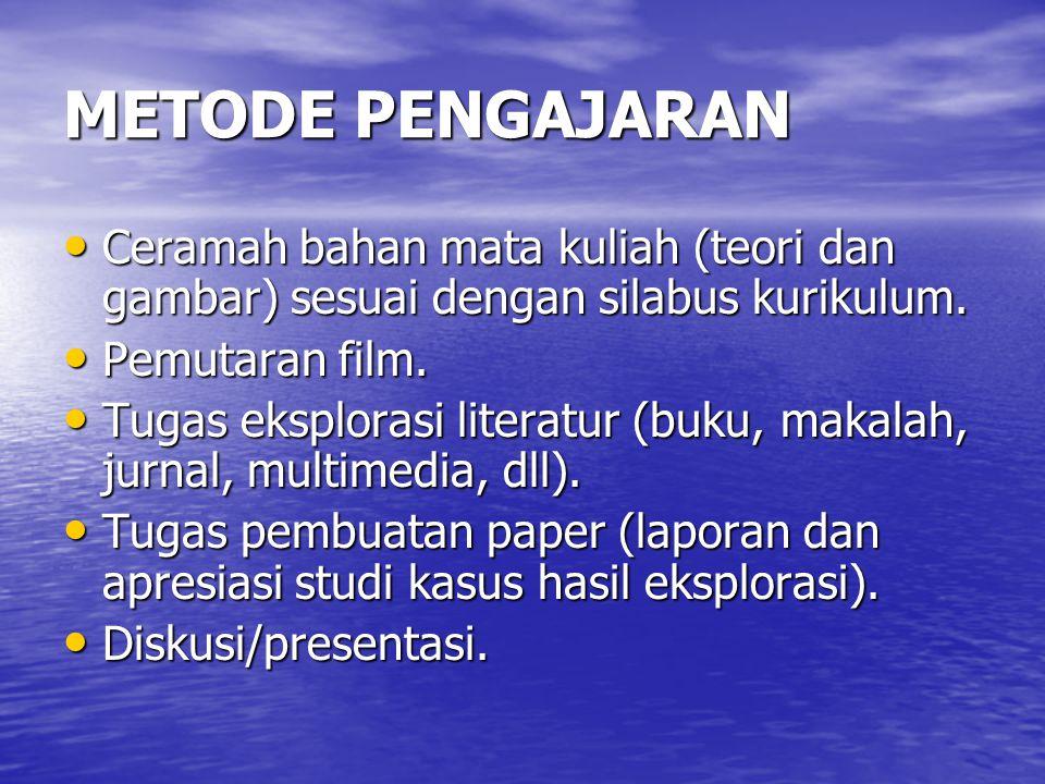 METODE PENGAJARAN Ceramah bahan mata kuliah (teori dan gambar) sesuai dengan silabus kurikulum. Pemutaran film.