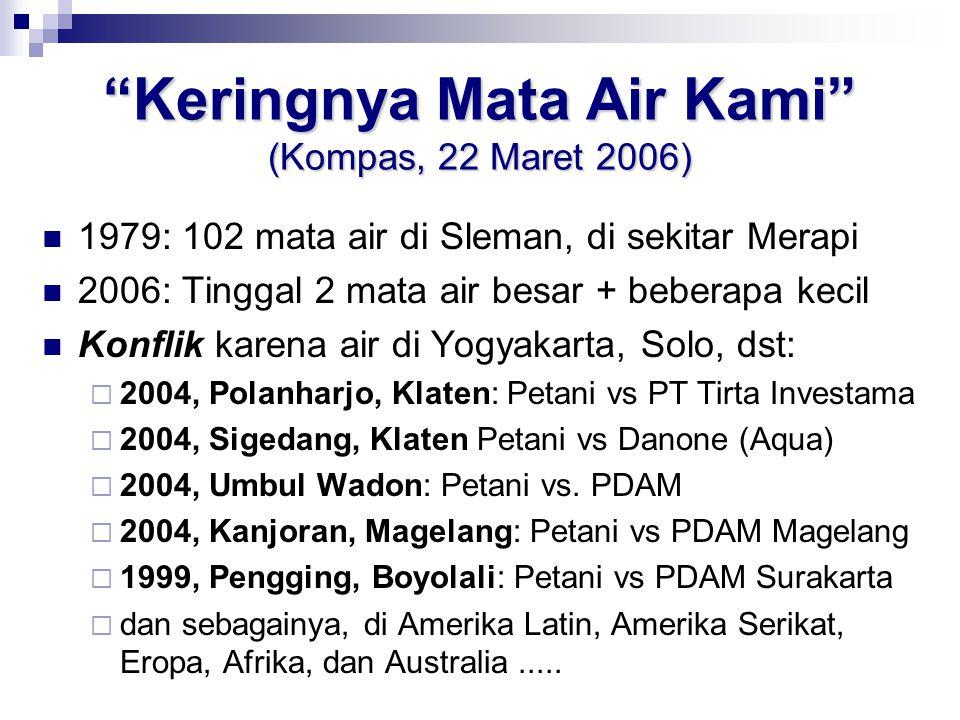 Keringnya Mata Air Kami (Kompas, 22 Maret 2006)