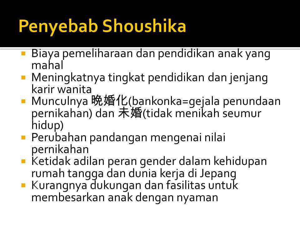 Penyebab Shoushika Biaya pemeliharaan dan pendidikan anak yang mahal