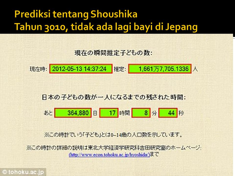 Prediksi tentang Shoushika Tahun 3010, tidak ada lagi bayi di Jepang