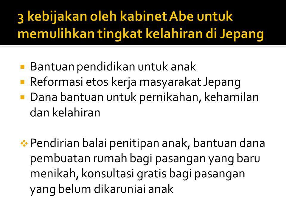 3 kebijakan oleh kabinet Abe untuk memulihkan tingkat kelahiran di Jepang