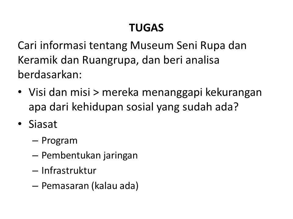 TUGAS Cari informasi tentang Museum Seni Rupa dan Keramik dan Ruangrupa, dan beri analisa berdasarkan: