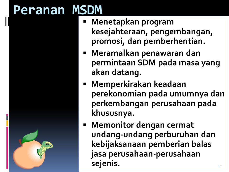 Peranan MSDM Menetapkan program kesejahteraan, pengembangan, promosi, dan pemberhentian.