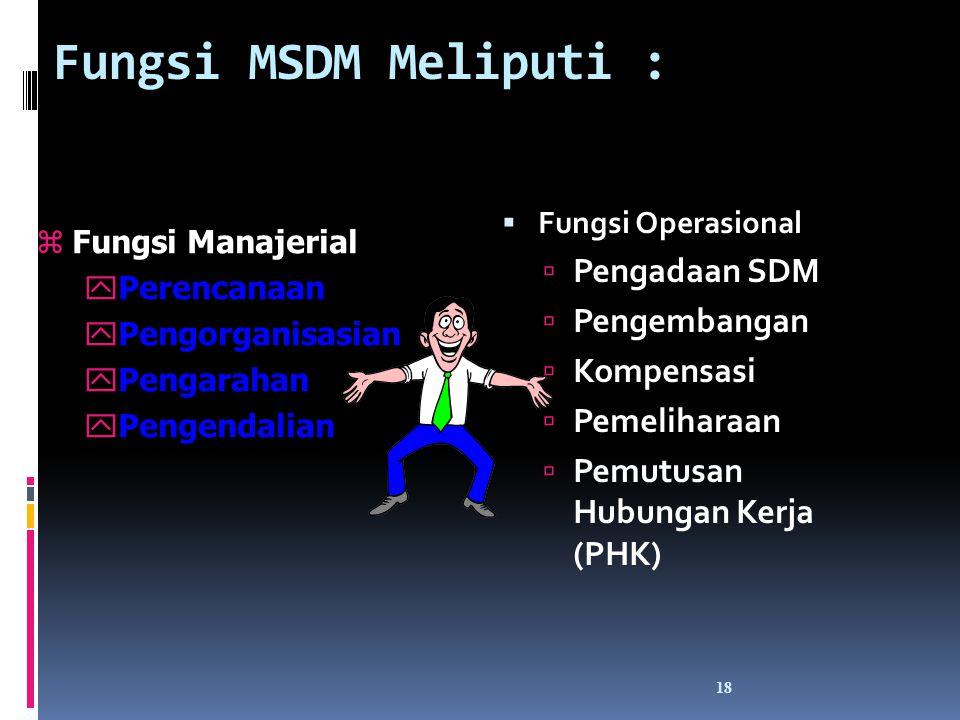 Fungsi MSDM Meliputi : Pengadaan SDM Pengembangan Kompensasi