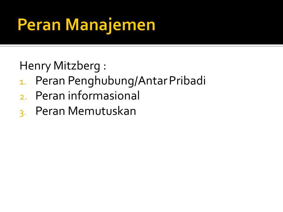 Peran Manajemen Henry Mitzberg : Peran Penghubung/Antar Pribadi